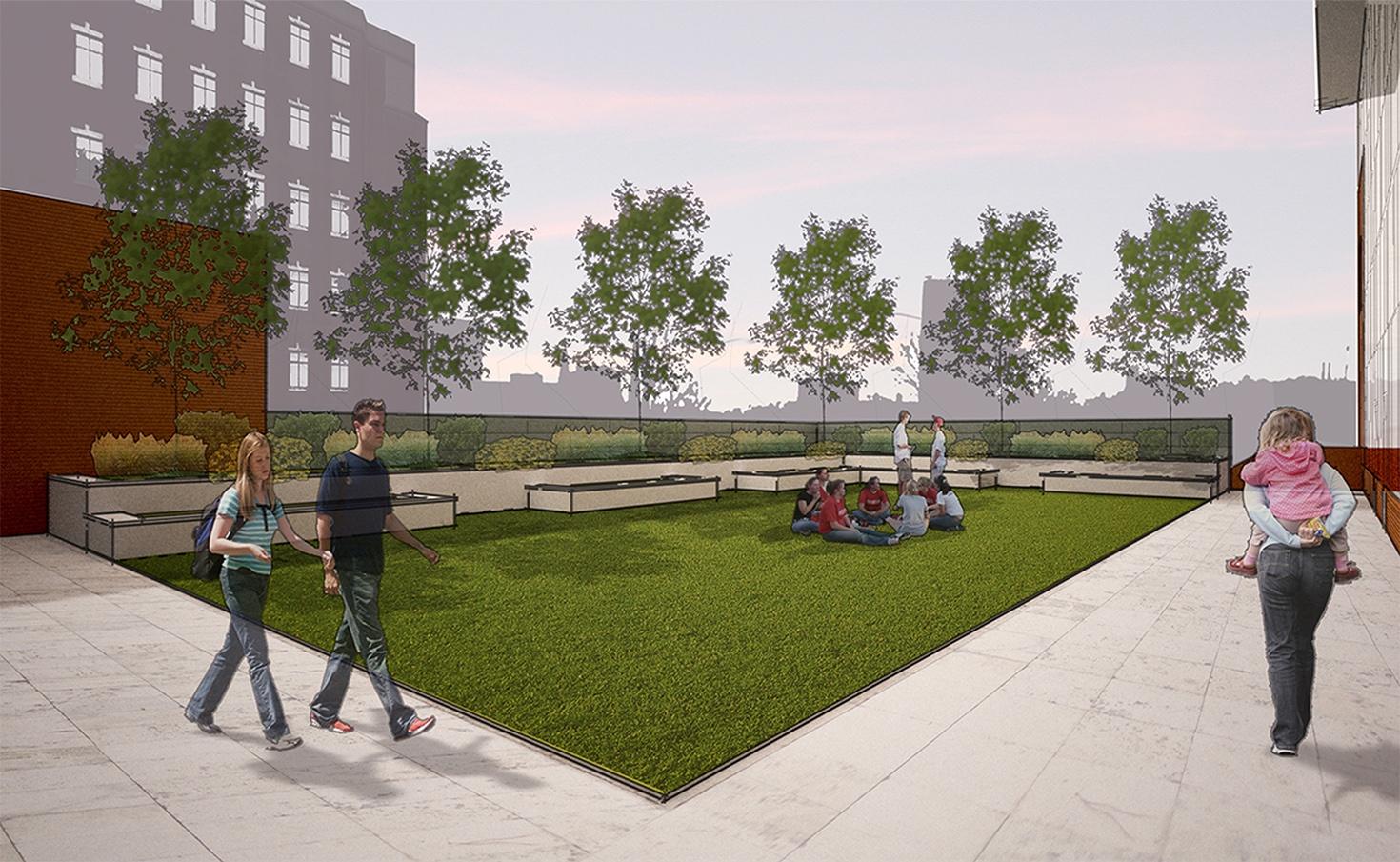 Rooftop Courtyard - Sculpture Garden and Performance Space for an Urban High School