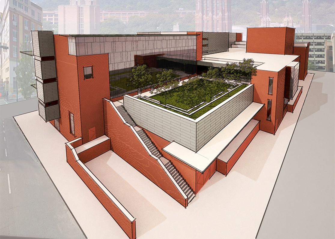 Rooftop Courtyard - Sculpture Garden and Performance Space for an Urban High School